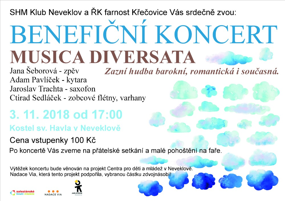 Plakát zvoucí na benefiční koncert.